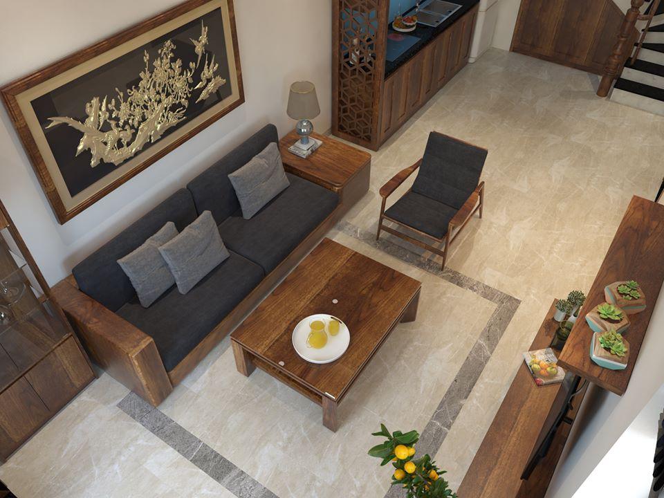 thiết kế nội thất gỗ dâu nhà ống