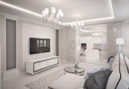 ý tưởng phòng khách chung cư trắng tinh khôi