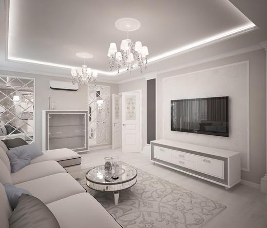 Thiết kế nội thất chung cư với tông màu trắng chủ đạo